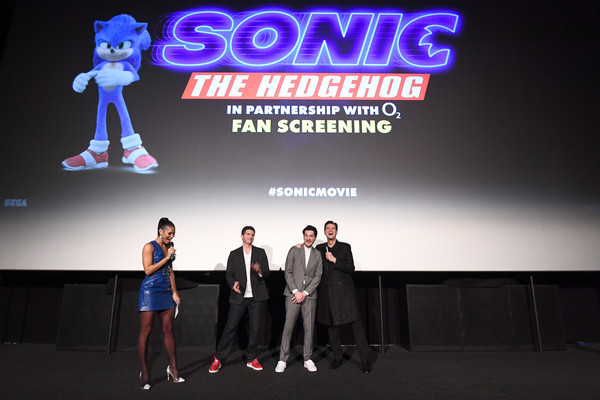 """Sonic the Hedgehog"" London Fan Screening [sonic the hedgehog,stage,fashion,performance,event,design,stage equipment,competition,display device,advertising,talent show,jeff fowler,ben schwartz,jim carrey,l-r,vick hope,london,united kingdom,vue westfield,london fan screening,photograph,london,image,stock photography,getty images,royalty-free,jeff fowler,sonic the hedgehog]"