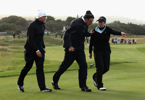Ricoh Women's British Open - Day Two [golf,sport venue,golfer,professional golfer,golf club,golf course,recreation,golf equipment,sports,fourball,suzann pettersen,cristie kerr,jim haley,balls,green,winds,centre,norway,usa,ricoh womens british open]