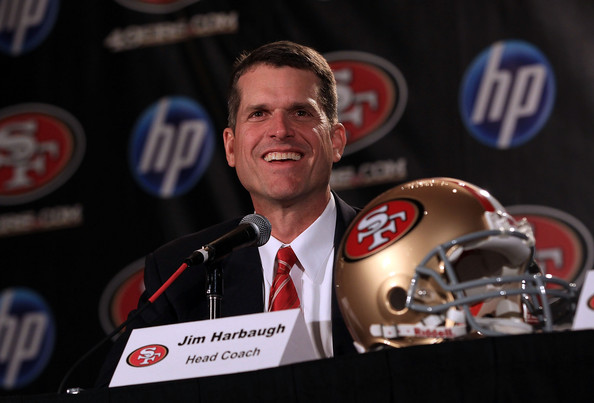 Jim Harbaugh Jim Harbaugh speaks at a press conference where he was introduced as the new San Francisco 49ers head coach at the Palace Hotel on January 7, 2011 in San Francisco, California.