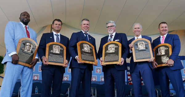 National Baseball Hall Of Fame Induction Ceremony [photograph,award,award ceremony,event,team,inductees,vladimir guerrero,jim thome,alan trammell,trevor hoffman,plaques,l-r,national baseball hall of fame induction ceremony,induction ceremony]