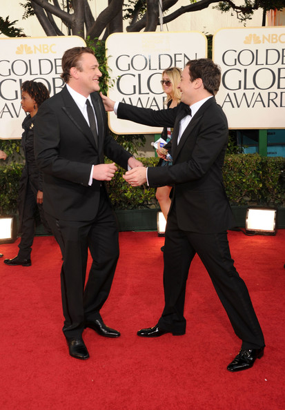 Jimmy Fallon Actors Jason Segel (L) and Jimmy Fallon arrive at the 68th Annual Golden Globe Awards held at The Beverly Hilton hotel on January 16, 2011 in Beverly Hills, California.
