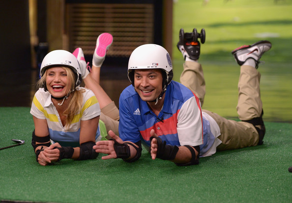 """Cameron Diaz Visits """"The Tonight Show Starring Jimmy Fallon"""" [the tonight show starring jimmy fallon,roller golf,grass,recreation,fun,games,leisure,competition event,player,golf course,competition,golf club,cameron diaz,jimmy fallon,rockefeller center,new york city,taping,game]"""