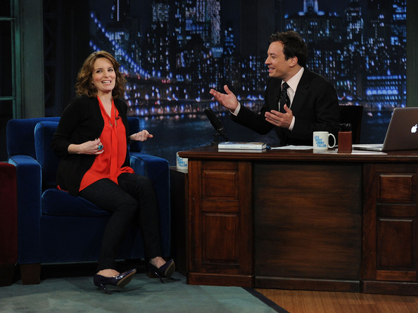 "Jimmy Fallon Actress Tina Fey and host Jimmy Fallon visit ""Late Night With Jimmy Fallon"" at Rockefeller Center on May 5, 2011 in New York City."