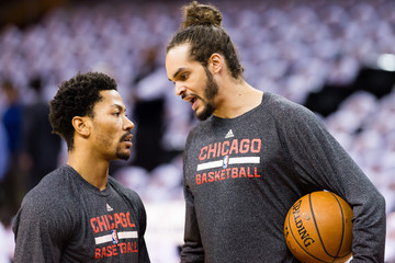 Joakim Noah Derrick Rose Chicago Bulls v Cleveland Cavaliers - Game Two
