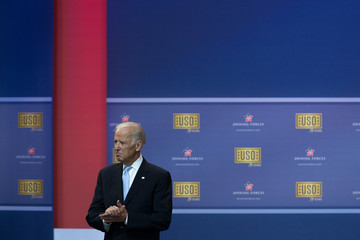 Joe Biden Obamas and Bidens Attend USO Comedy Show for Military Appreciation Month