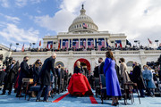 Lady Gaga arrives to sing the national anthem as President-elect Joe Biden and Vice President-elect Kamala Harris look on on the West Front of the U.S. Capitol on January 20, 2021 in Washington, DC.  During today's inauguration ceremony Joe Biden becomes the 46th president of the United States.