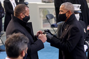 Former U.S. President Barack Obama and former baseball player Alex Rodriguez greet each other at the inauguration of President-elect Joe Biden on the West Front of the U.S. Capitol on January 20, 2021 in Washington, DC. During today's inauguration ceremony Biden becomes the 46th President of the United States.