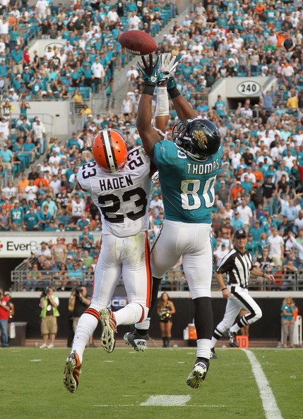 Joe Haden Mike Thomas #80 of the Jacksonville Jaguars goes up for a ball against Joe Haden #23 during a game agaisnt the Cleveland Browns at EverBank Field on November 21, 2010 in Jacksonville, Florida.