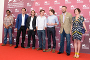 (from second left)  Actors Nicolas Cage, Ronie Gene Blevins, director David Gordon Green, actor Tye Sheridan and producers Christopher Woodrow and  Lisa Muskat attend the 'Joe' Photocall during The 70th Venice International Film Festival at Palazzo Del Casino on August 30, 2013 in Venice, Italy.