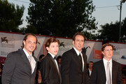 (L to R) Actors Ronnie Blevins, Tye Sheridan, Nicolas Cage and director David Gordon Green attend the 'Joe' Premiere during The 70th Venice International Film Festival at Palazzo Del Cinema on August 30, 2013 in Venice, Italy.