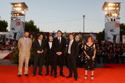 (L to R) Producer Christopher Woodrow, actors Ronnie Blevins, Tye Sheridan, Nicolas Cage, director David Gordon Green and producer Lisa Muskat attend the 'Joe' Premiere during The 70th Venice International Film Festival at Palazzo Del Cinema on August 30, 2013 in Venice, Italy.