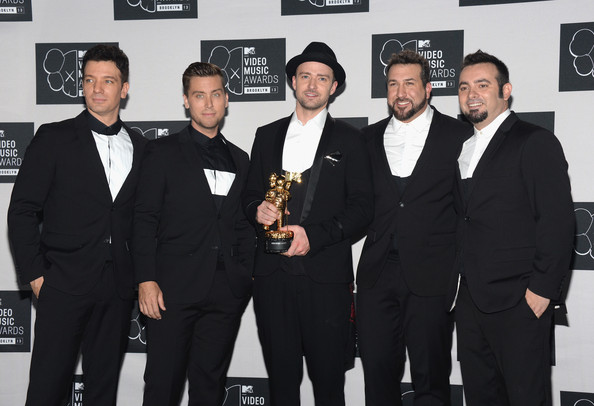 Press Room at the MTV Video Music Awards — Part 3 [suit,event,award,premiere,tuxedo,formal wear,white-collar worker,jc chasez,lance bass,chris kirkpatrick,joey fatone,justin timberlake,2013 mtv video music awards,l-r,michael jackson video vanguard award,room,nsync]