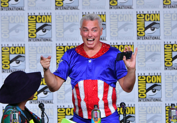 Comic-Con International 2018 - SYFY WIRE Hosts The Great Debate [technology,muscle,fiction,comics,world,fictional character,publication,games,john barrowman,san diego convention center,california,panel,syfy wire,comic-con international 2018 - syfy wire hosts the great debate,the great debate]