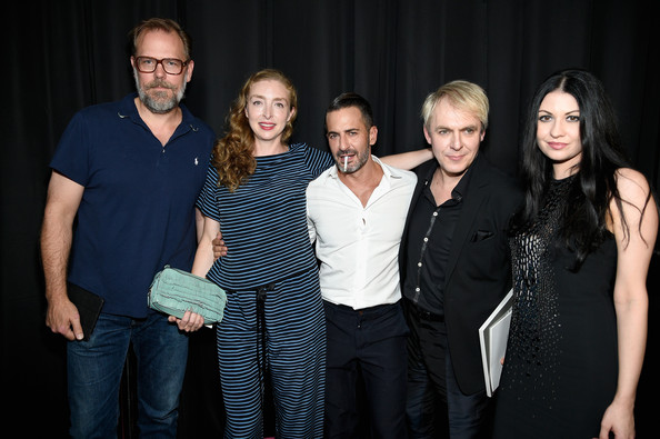 Marc Jacobs - Backstage - Mercedes-Benz Fashion Week Spring 2015 [social group,event,fashion,photography,fun,performance,smile,formal wear,family,marc jacobs,nick rhodes,nefer suvio,rachel feinstein,john currin,l-r,park avenue armory,new york city,mercedes-benz fashion week,fashion show]