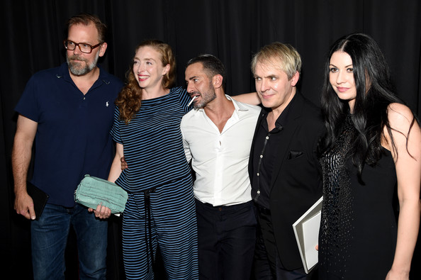 Marc Jacobs - Backstage - Mercedes-Benz Fashion Week Spring 2015 [event,social group,fashion,photography,formal wear,performance,marc jacobs,nick rhodes,nefer suvio,rachel feinstein,john currin,l-r,park avenue armory,new york city,mercedes-benz fashion week,fashion show]