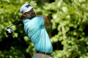 Ryan Moore htis a tee shot on the 17th hole during the second round of the John Deere Classic at TPC Deere Run on July 13, 2018 in Silvis, Illinois.