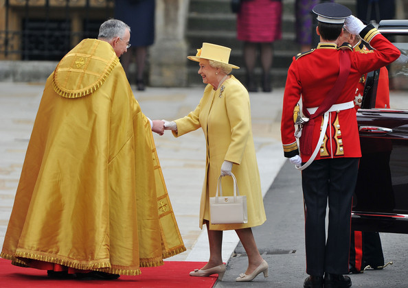 Royal Wedding Arrivals [royal wedding,cope,bishop,yellow,outerwear,cardinal,pope,clergy,tradition,event,philip,elizabeth ii,guests,john hall,way,marriage,westminster abbey,london,party]