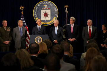 John Kerry President Obama Delivers Statement at CIA Headquarters