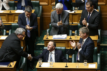 John Key Gerry Brownlee New Zealand 2015/2016 Budget Delivery