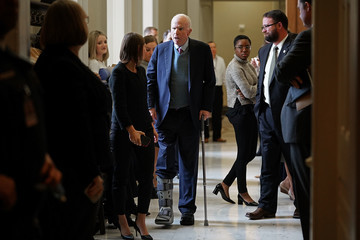 John McCain Senate Lawmakers Address the Media After Their Weekly Policy Luncheons