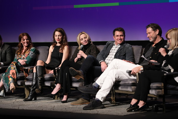 """SCAD aTVfest 2020 - """"Filthy Rich"""" With Kim Cattrall Icon Award Presentation [filthy rich,event,performance,television program,stage,kim cattrall,tate taylor,aubrey dollar,melia kreiling,l-r,georgia,atlanta,kim cattrall icon award presentation,scad atvfest,public relations,fashion,audience,socialite,public,television]"""