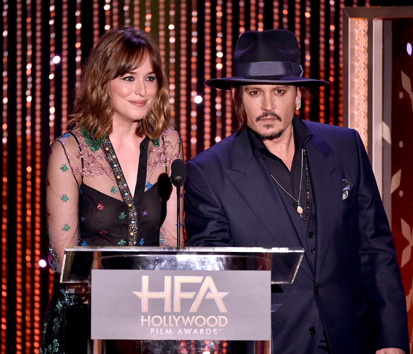 19th Annual Hollywood Film Awards - Show [event,performance,award,fashion accessory,talent show,dakota johnson,johnny depp,beverly hills,california,the beverly hilton hotel,l,19th annual hollywood film awards - show,annual hollywood film awards]