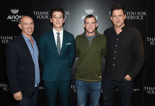 The Cinema Society Host a Screening of DreamWorks and Universal Pictures' 'Thank You for Your Service' [event,premiere,suit,formal wear,white-collar worker,jason hall,adam schumann,miles teller,jon kilik,thank you for your service,l-r,universal pictures,dreamworks,cinema society host a screening of dreamworks,screening]