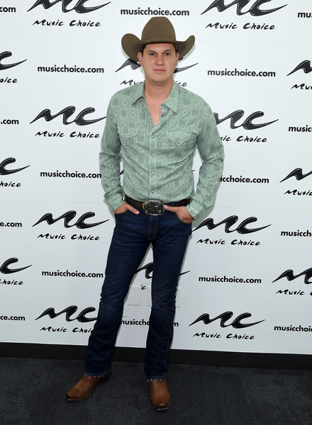 Jon Pardi Visits Music Choice [music choice,clothing,footwear,fedora,denim,hat,jeans,headgear,eyewear,cowboy hat,shoe,new york city,jon pardi]