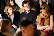 (L-R) Virginia Smith, Mark Holgate and Anna Wintour attend the Jonathan Simkhai fashion show during  Fall 2016 MADE Fashion Week at Milk Studios on February 14, 2016 in New York City.