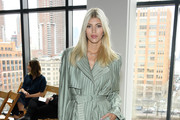 Devon Windsor attends the Jonathan Simkhai front row during New York Fashion Week: The Shows at Gallery I at Spring Studios on February 10, 2020 in New York City.