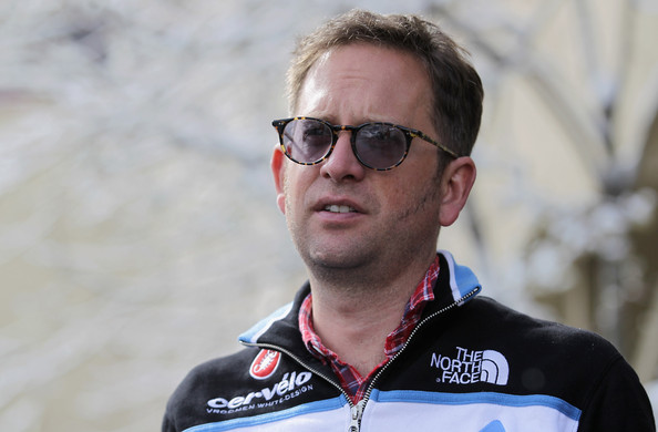 Jonathan Vaughters Director Jonathan Vaughters of the Team Garmin Cervelo looks on at the start of stage one of the 2011 AMGEN Tour of California from South Lake Tahoe to North Lake Tahoe is delayed because of snow on May 15, 2011 in South Lake Tahoe, California.