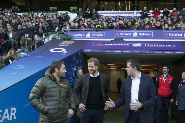 Prince Harry Attends England Rugby Team Open Training Session
