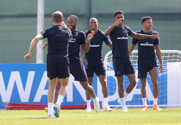 England Training Session - 2018 FIFA World Cup Russia [sports,team,team sport,player,sport venue,stadium,ball game,championship,sports training,competition event,raheem sterling,jordan henderson,ashley young,part,england,russia,training session,2018 fifa world cup,training session,drill]