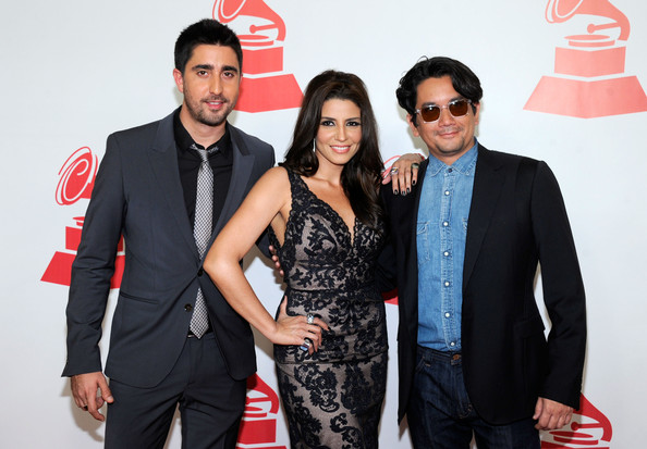 2011 Latin Recording Academy Person Of The Year Honoring Shakira - Arrivals [latin recording academy person of the year,red,event,fashion,eyewear,suit,premiere,photography,carpet,style,formal wear,arrivals,alex ubago,shakira,alex jorge y lena,jorge villamizar,lena burke,l-r,band,latin recording academy]