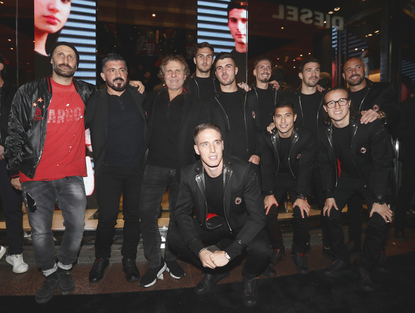 Diesel Presents The AC Milan Special Collection [social group,team,crew,event,l-r,diesel presents the ac milan special collection,andrea rosso,gennaro gattuso,renzo rosso,alessio romagnoli,samu castillejo,patrick cutrone,stefan simic,jose manuel reina]