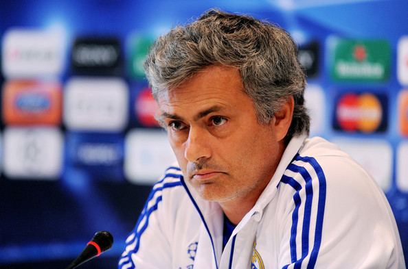 A pensive-looking Jose Mourinho ponders his future at Real Madrid but refuses to comment on it in his pre-Champions League match press conference.