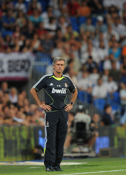 Jose Mourinho Real Madrid's new manager Jose Mourinho watches his team during the Santiago Bernabeu Trophy match between Real Madrid and Penarol at the Santiago Bernabeu stadium on August 24, 2010 in Madrid, Spain.