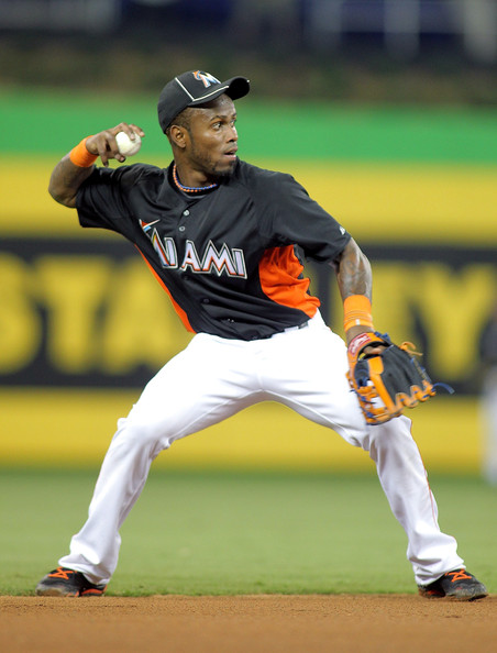 Jose Reyes Shortstop Jose Reyes #7 of the Miami Marlins fields the ball against the Houston Astros at Marlins Park on April 13, 2012 in Miami, Florida.