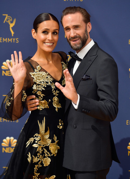 70th Emmy Awards - Arrivals [event,formal wear,suit,fashion,carpet,premiere,dress,flooring,tuxedo,award,arrivals,maria dolores dieguez,joseph fiennes,emmy awards,california,los angeles,microsoft theater,l,70th emmy awards]