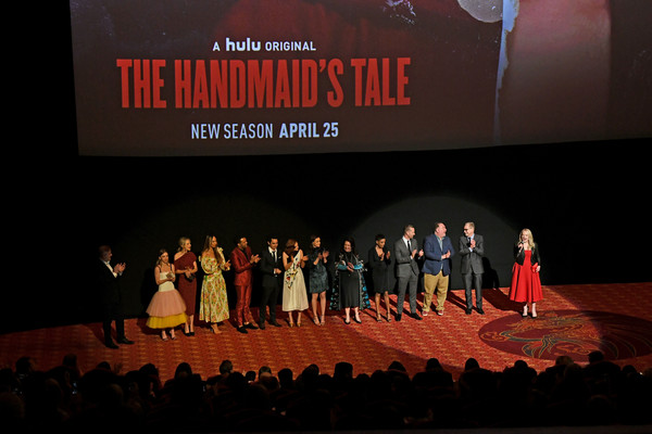 Premiere Of Hulu's 'The Handmaid's Tale' Season 2 - Red Carpet [the handmaids tale,season,red carpet,stage,event,talent show,performance,auditorium,theatre,heater,performing arts,electronic device,convention,cast,hulu,tcl chinese theatre,california,hollywood,premiere,premiere]