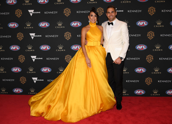 2019 Brownlow Medal [red carpet,carpet,yellow,clothing,dress,gown,flooring,fashion,premiere,shoulder,josh kennedy,ana calle,brownlow medal,australia,melbourne,crown palladium,swans]