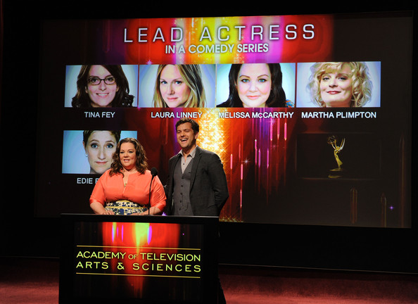 63rd Primetime Emmy Award Nominee Announcement [display device,television program,media,technology,electronic device,display advertising,flat panel display,led display,stage,led-backlit lcd display,actors,melissa mccarthy,joshua jackson,63rd primetime emmy awards,primetime emmy award,north hollywood,california,leonard goldenson theatre,nominee announcement]