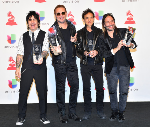 The 19th Annual Latin GRAMMY Awards - Press Room [event,fashion,technology,performance,award,pop music,fashion design,winners,alex gonzalez,juan calleros,sergio vallin,l-r,person of the year,room,press room,mana,latin grammy awards]