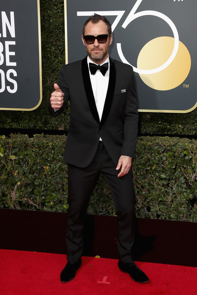 75th Annual Golden Globe Awards - Arrivals [suit,red carpet,formal wear,tuxedo,carpet,clothing,tie,premiere,bow tie,facial hair,arrivals,jude law,the beverly hilton hotel,beverly hills,california,golden globe awards,the 75th annual golden globe awards]