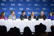 "(L-R) Producer Susan Downey actor Dax Shepard, actor Robert Downey Jr., Robert Duvall, Vincent D'Onofrio and Vera Farmiga of ""The Judge"" speak onstage at ""The Judge"" Press Conference during the 2014 Toronto International Film Festival at TIFF Bell Lightbox on September 5, 2014 in Toronto, Canada."