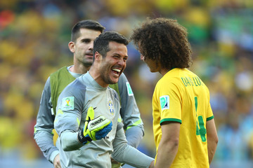 Julio Cesar David Luiz Brazil v Chile: Round of 16 - 2014 FIFA World Cup Brazil
