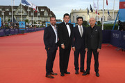 """Jason Spire, Chris Weitz, Oscar Isaac and Sir Ben Kingsley attend """"Operation Finale"""" film Premiere on September 5, 2018 in Deauville, France."""