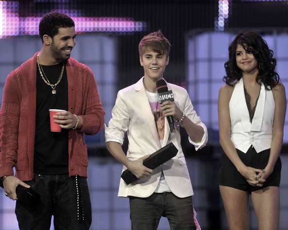 Justin Bieber Drake, Justin Bieber and Selena Gomez on stage at the 22nd Annual MuchMusic Video Awards at the MuchMusic HQ on June 19, 2011 in Toronto, Canada.