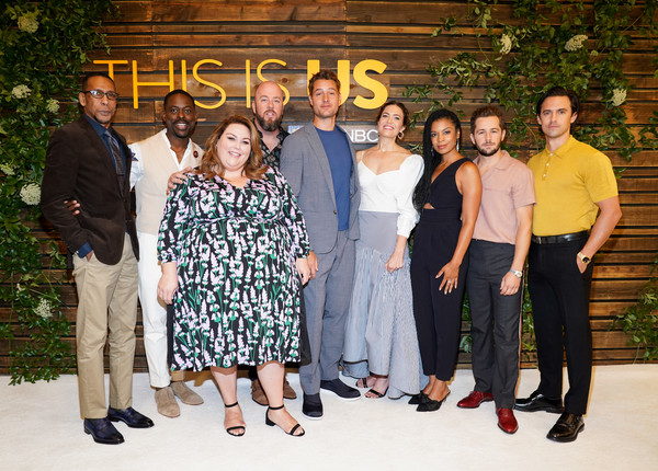 NBC's 'This Is Us' Pancakes With The Pearsons - Arrivals [this is us,social group,people,event,team,family,family taking photos together,formal wear,pearsons - arrivals,ron cephas jones,chris sullivan,justin hartley,mandy moore,pancakes,l-r,hotel west hollywood,nbc]