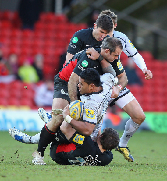Leicester Centre Manu Tuilagi Is Tackled: Saracens V Leicester Tigers